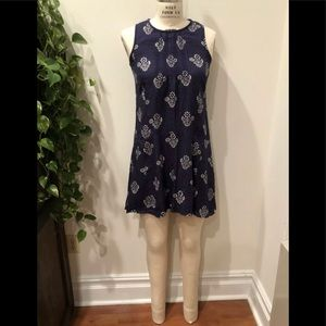 Madewell Navy Shift Dress chinoiserie Print Slvlss